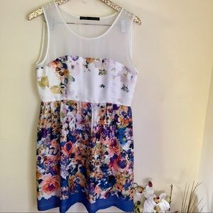 Zara Dresses - Zara floral mesh inset fit and flare dress large